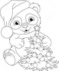 panda christmas coloring page u2014 stock vector malyaka 104980138