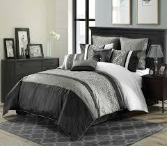 Decorate Bedroom White Comforter Black And White Comforter Sets Full Leaves Pattern Desk And White