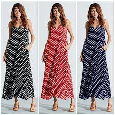sexi maxi dresses summer women maxi dress v neck dot backless pockets
