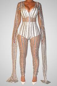 sequined jumpsuit v neck sleeves see through silver sequined one