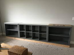 ikea hack bench bookshelf ikea hack expedit into long storage unit ikea kallax ikea