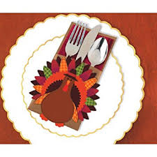 amscan thanksgiving turkey cutlery holder deluxe multi