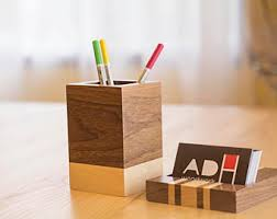 Desk Business Card Holder For Men Desk Accessories For Men Etsy