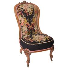 Slipper Chairs 19th Century Needlepoint Upholstered English Slipper Chair
