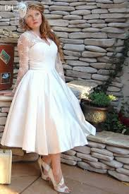 plus size wedding dresses with sleeves tea length vintage style sleeve tea length lace plus size wedding