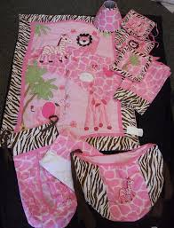 Girls Jungle Bedding by Jungle Themed 10 Piece Pink And Brown Girls Crib Bedding Set
