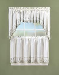 Designer Kitchen Curtains Teal Kitchen Curtains 3 Piece Sheer Window Curtain Set Geometric