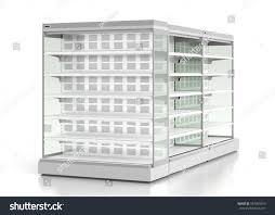 set empty supermarket refrigerator showcase isolated stock