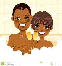 champagne toast cartoon african american couple relaxing bath stock vector image 41408095