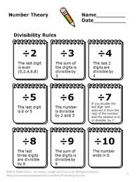 theory gcf and lcm divisibility rules prime factorization