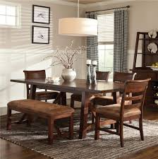 intercon bench creek 5 piece trestle table u0026 upholstered chairs