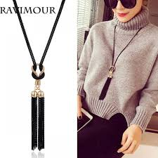 black long tassel necklace images Long tassel necklace black chain contrast gold fitting for jpeg