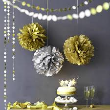 Curtains With Pom Poms Decor Luxurious Gold Silver Combination Decoration Tissue Paper