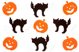 foam jack o lantern and black cat halloween cut outs isolated