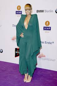 rihanna jumpsuit rihanna green vaultier jumpsuit echo awards