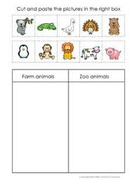 kindergarten farm cut and paste worksheets farm sort worksheet