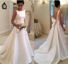 wedding dresses with bows grace high neck scoop satin wedding dresses bow bare back