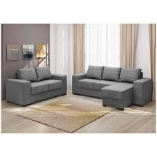 Sofá  E  Lugares Com Puff Chaise Em Tecido Animale Cinza - Puff sofa 2
