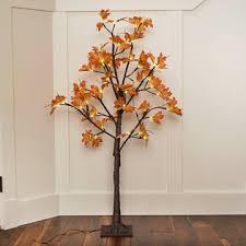 led lighted tree yellow orange maple leaves 4 ft warm white