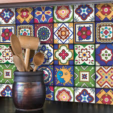 mexican tiles stickers set of 16 tiles tile decals art for