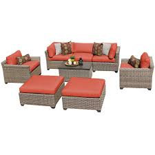 hampton 8 piece outdoor wicker patio furniture set 08a walmart com