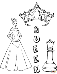 queen king chess pieces coloring free printable