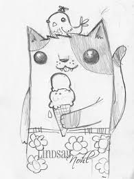 drawings of cute things cute kitty with cute ice cream and a