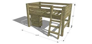 Twin Loft Bed With Desk Plans Free by Free Diy Furniture Plans How To Build A Twin Sized Low Loft