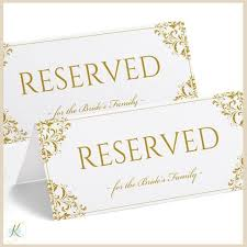 wedding signs template printable reserved sign tent nadine gold