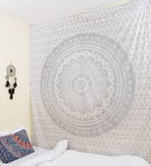 silver mandala tapestry single cotton printed wall hanging decor