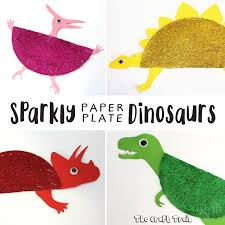 sparkly paper plate dinosaurs craft train