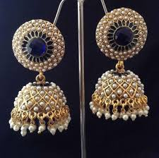 buy jhumka earrings online buy indian vintage jewellery blue golden pearl brass jhumka