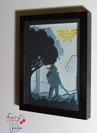 zelda link framed hand paper special wall art unique