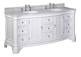 White Vanities Bathroom Katherine 72 Inch Double Vanity Carrara White Includes White