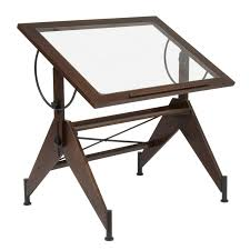 Drafting Table Ls Studio Designs Aries Glass Top Drafting Table Sonoma Brown Clear