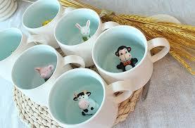 Cute Animal Mugs by Amazon Com 3d Cute Cartoon Miniature Animal Figurine Ceramics