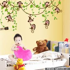 online get cheap plastic smoking monkey aliexpress alibaba removable monkey wall decals for nursery room decorative children stickers china mainland