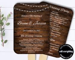 Diy Fan Wedding Programs Kits Wedding Program Fan Template Printable Rustic Wedding Fan