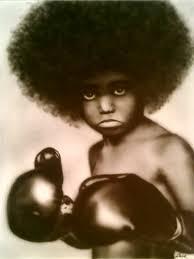 tableau portrait noir et blanc afro beating boy kevin zanna