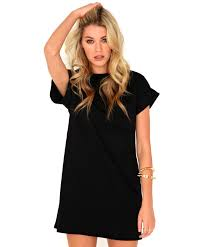 missguided davina oversized t shirt dress in black in black lyst