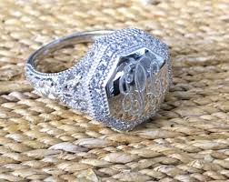 monogrammed rings silver sterling silver monogrammed ring with rope edge 18mm
