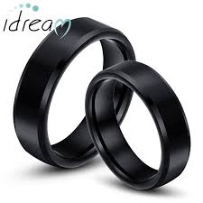black wedding ring black tungsten wedding bands couples rings idream jewelry