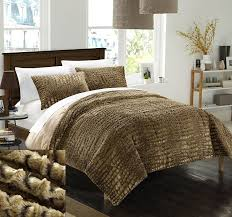 Fur Bed Set Amazon Com Chic Home 3 Piece New Faux Fur Collection With Mink