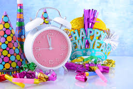 New Years Clock Decorations by Happy New Year Clock And Party Decorations Stock Photo Image
