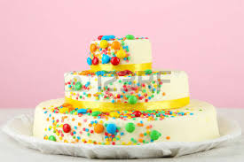 beautiful tasty birthday cake gifts color background stock