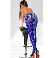 punk royalblue hollow out skinny leggings l10335