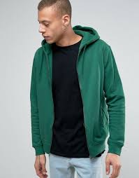weekday bom basic zipthru hooded sweatshirt 96 304 green men zip