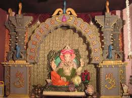Home Temple Decoration Ideas Ganesh Pooja Decoration With Thermocol Swarna Vasi My Fav