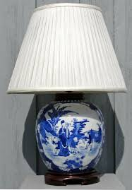 blue and white ginger jar lamp with chinoiserie decoration