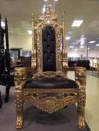 gold black lord raffles gothic ornate king queen lion throne chair
